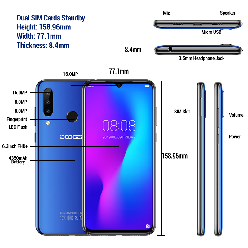 DOOGEE N20 N 20 6.3 Inch Android 9.0 Smartphone MT6763 Octa Core 4G LTE Cellphone 4GB 64GB ROM 4350mAh Mobile Phone Fingerprint