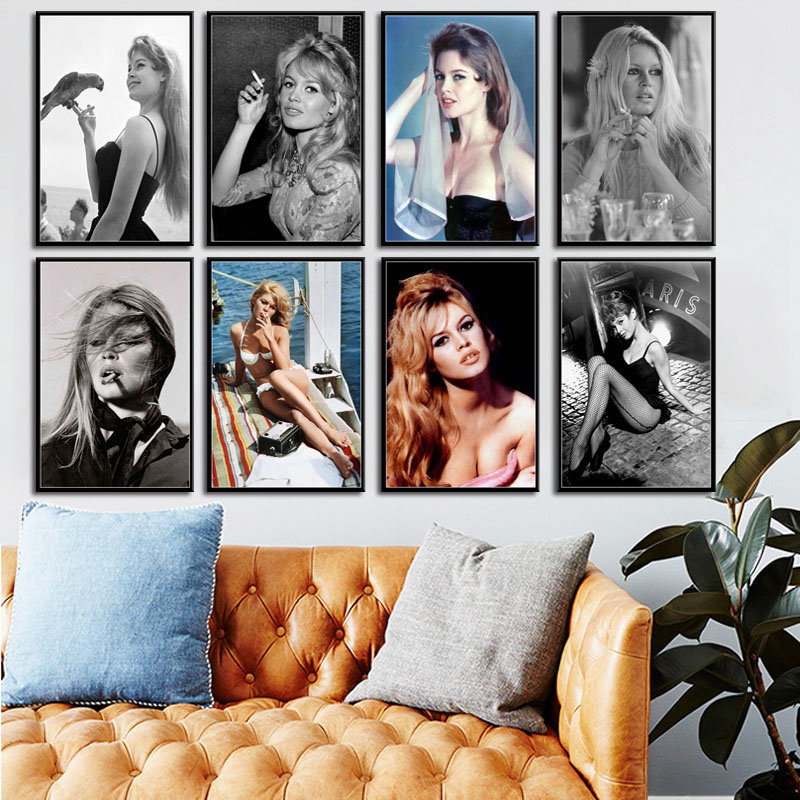 Hot Sexy Brigitte Bardot Movie Star Actress Model Art Painting Silk Canvas Poster Wall Home Decor Obrazy Plakat