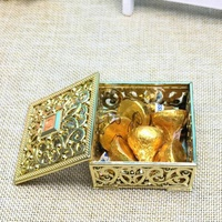 Hot Sale 100Pcs Luxury Golden Square Candy Box Treasure Chest Wedding Favor Box Party Supplies
