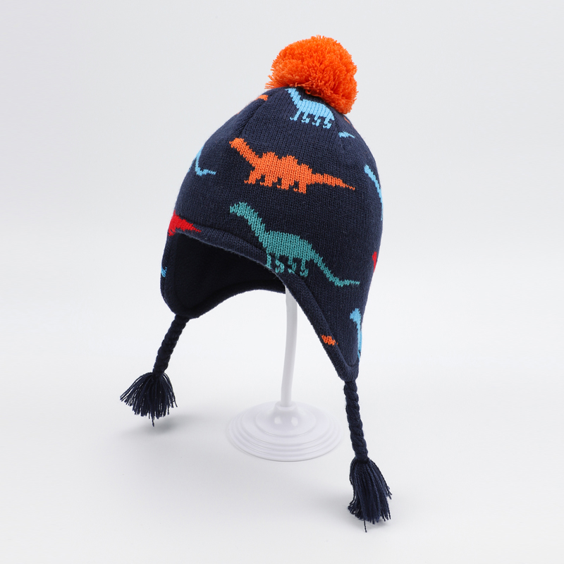 Winter Hat Boy Dinosaur Kid Knit   Beanie   Autumn Earflap Fleece Warm Skiing Pompom Outdoor Accessory For Toddler Baby