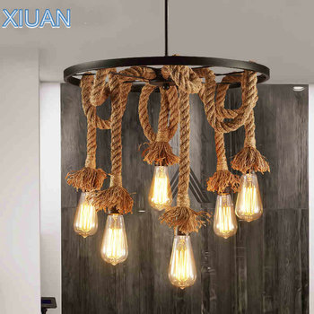Loft Retro Industrial Metal Pendant Light Restaurant Bar Office Vintage Lighting Hemp Rope Edison Bulb LED E27 Suspension Lamps