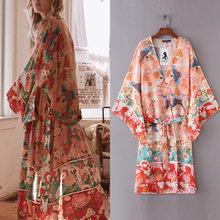Blusa femenina de Chifón con estampado Floral para verano, camisa Sexy tipo Kimono con estampado Floral y cinturón para Playa
