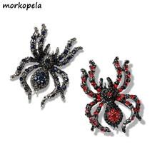 Morkopela – broche en forme d'araignée pour homme et femme, accessoire Vintage avec strass d'insecte, broche à Clip, meilleur cadeau