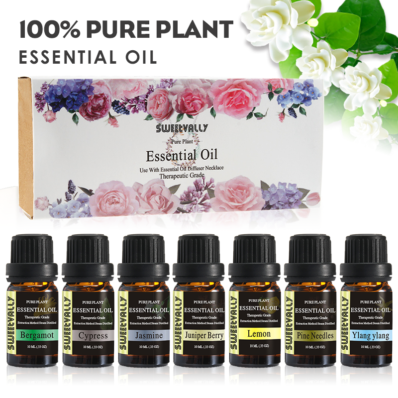7pcs/set 100% Pure Natural Aromatherapy Essential Oils Kit Soothing Stress Pain Relief Foot Bath Massage Oil Kit Women Gift