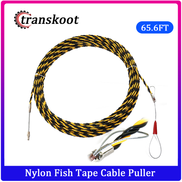 6.5mm*20m Nylon Fish Tape Electric Cable Push Puller Conduit Ducting Cable Rodder Wire Guide electric cable Wire extension cord