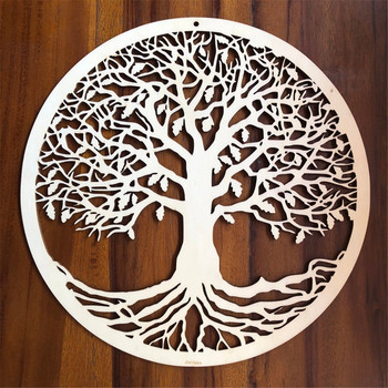Tree of Life Wood Wall Hanging Laser Cut Wooden Wall Art Sacred Geometry Yoga Studio Unique Handmade Spiritual Gift Home Decor tree wall decal sticker bedroom tree of life roots birds flying away home decor yoga studiodecor heart shaped branches a7 018