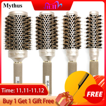 Mythus Professional Nano Technology Ceramic Ionic Hair Round Brush Boar Bristle Antistatic Heat Resistant Hair Curling Brushes