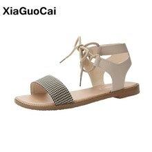 Sandalias de mujer, zapatos de verano para mujer, conciso, Vintage, calzado plano, recién llegado, sandalias con cordones para mujer, gran oferta