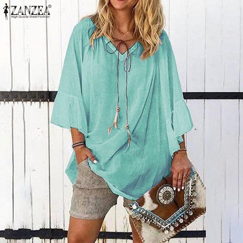 ZANZEA Plus Size Women Tops And Blouses Fashion 2020 Summer Ruffles Sleeve Shirts Office Ladies Work Chic Blusas Vintage Tunic