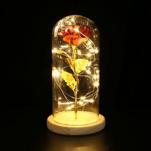 2019 Dropshipping Beauty And The Beast Red Rose In A Glass Dome With LED Light Wooden Base For Valentine's Mother's Day Gifts