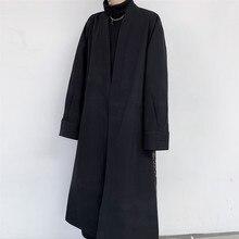 Men Overcoat Cardigan Vintage Pattern Splice Loose Casual Long Jacket Trench Coa