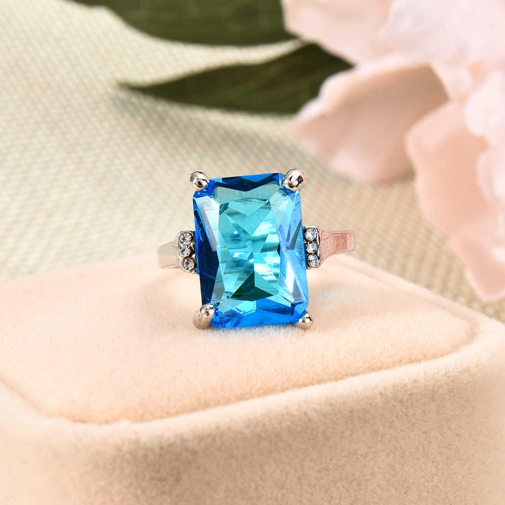خاتم أنيق جديد من الكريستال وحجر الراين الأزرق للبحر الكبير خاتم سيدات لحفلات الزفاف والعروس مجوهرات