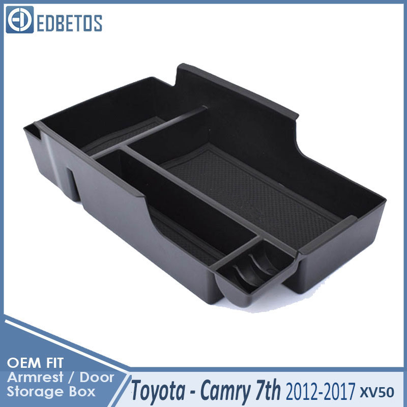 * Camry Car Armrest Box Center Console Storage Glove Box Organizer Insert Tray For Toyota Camry 2012 2013 2014 2015 2016 2017 4