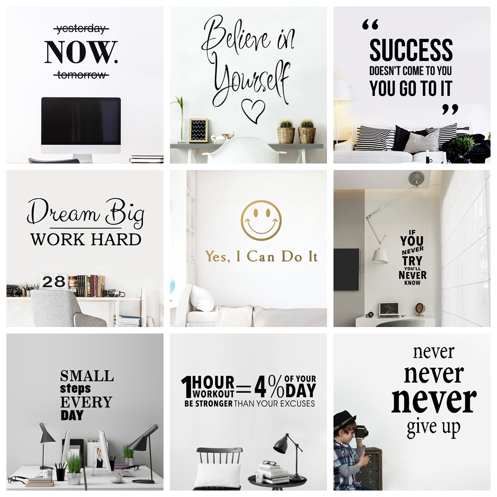 Motivational Phrases Wall Sticker Quotes Sentences Home Decor For School Company Office Study Room Wallsticker Decals image