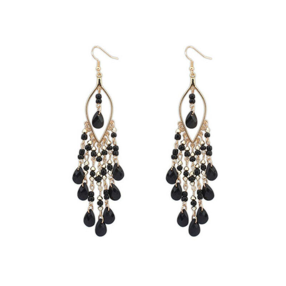 2019 new  hot Fashion Bohemian Long Creative Female Crystal Beads Tassel Exaggerated Drop Earrings Jewelry Gift  Exaggeration