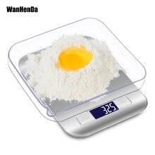 Высокоточные электронные кухонные весы 5 кг/1 г с ЖК-дисплеем, цифровые весы для еды, весы из нержавеющей стали, инструмент, весы, серебро