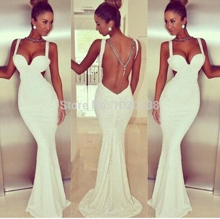 Gorgeous Sweetheart Spaghetti Straps Long Mermaid Prom Black White Sequined Lace Backless Party Gown Vestidos Bridesmaid Dresses