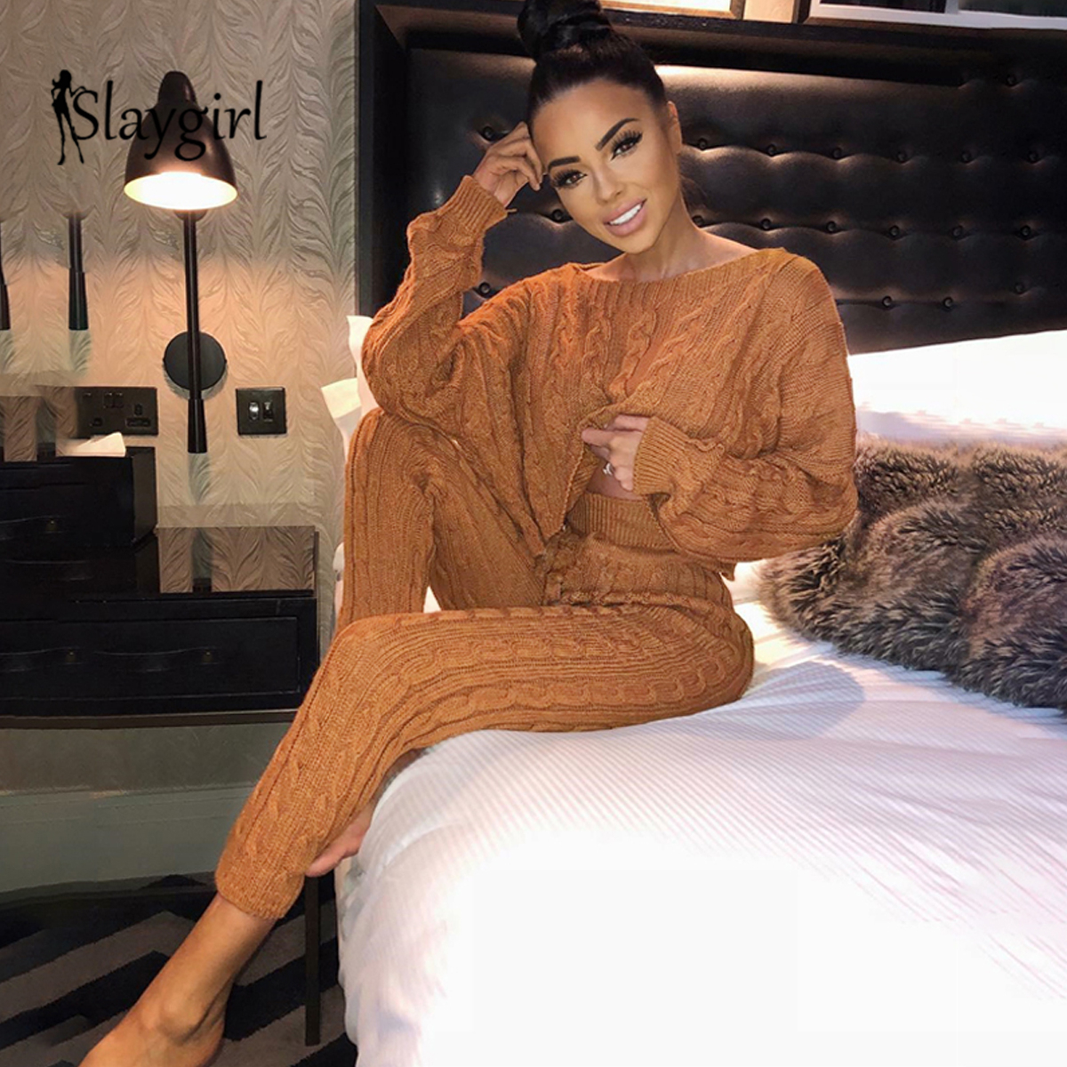 Slaygirl Sweater Knitted Jumpsuits For Women 2019 Winter Rompers Womens Jumpsuit Party Fashion Long Sleeve Bodycon Sexy Jumpsuit