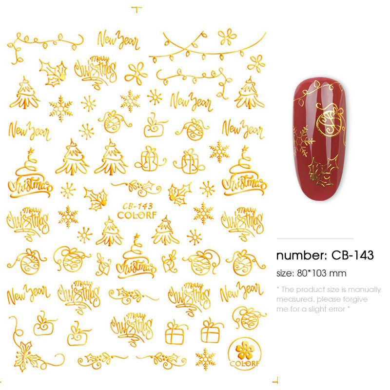 1 pezzi adesivi per unghie di natale decalcomanie fiocchi di neve buste di natale pupazzo di neve decorazioni per l'inverno unghie manicure strumenti