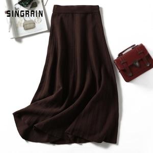 Image 3 - SINGRAIN ผู้หญิงถักกระโปรงยาวฤดูหนาว WARM เสื้อกันหนาว A Line Maxi กระโปรง Midi ถักหญิงก้น Swing กระโปรงฤดูใบไม้ร่วง