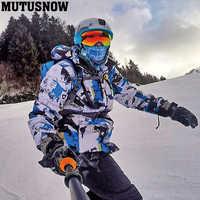 2019 nueva chaqueta de esquí para hombres pantalones de invierno cálido a prueba de viento impermeable deportes al aire libre snowboard marcas pantalones de esquí traje de esquí