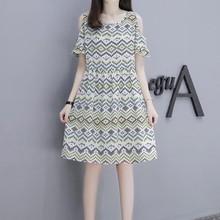 Elegant Women's Dresses Summer Round Neck A-Line Loose Dress 2019 New Casual Printed Cold Shoulder Short Sleeve Midi Dress цена 2017