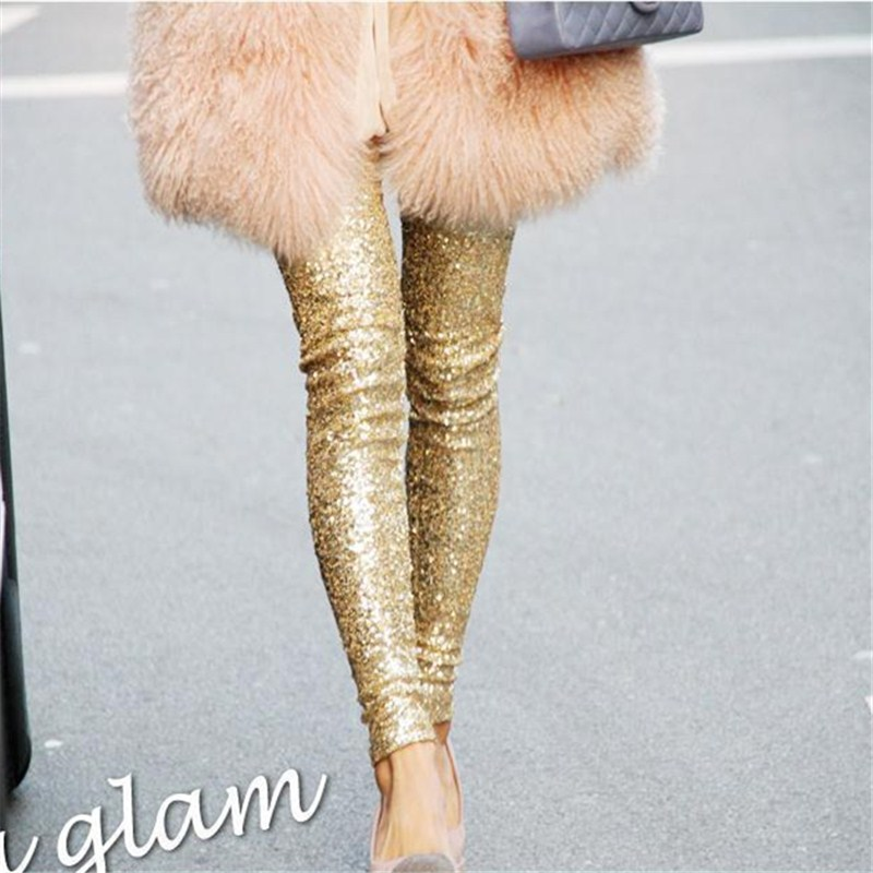 2019 Shining Women Gold-Tone Sequin Leggings Plus Size Fully Sequin Pants Slim Fit Slimming Women Pants O5A120