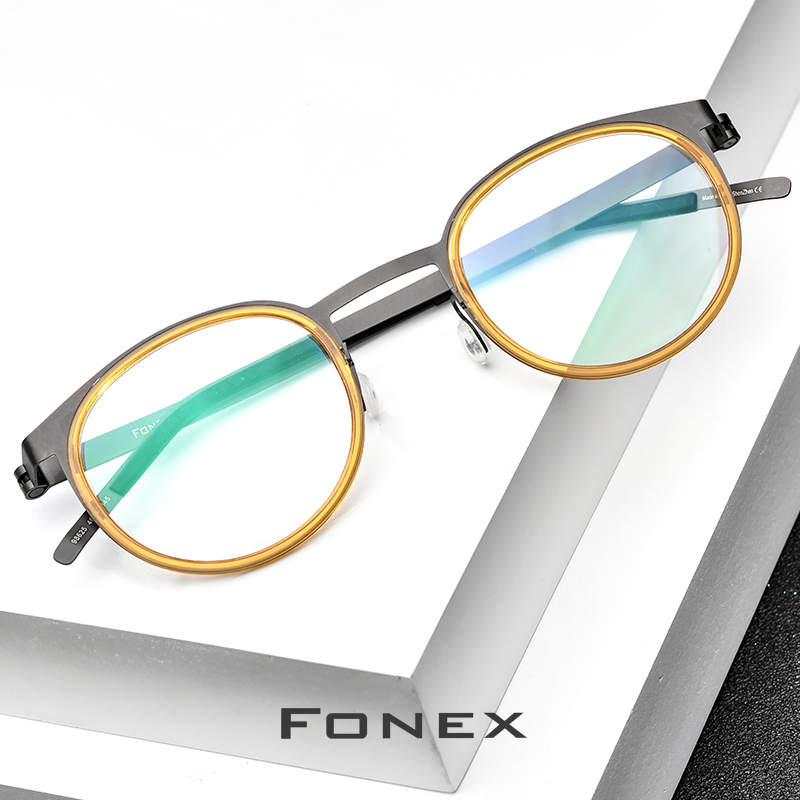 FONEX Acetate Titanium Alloy Eyeglasses Frame Men Women Round Prescription Myopia Optical Glasses Korean Screwless Eyewear 98625
