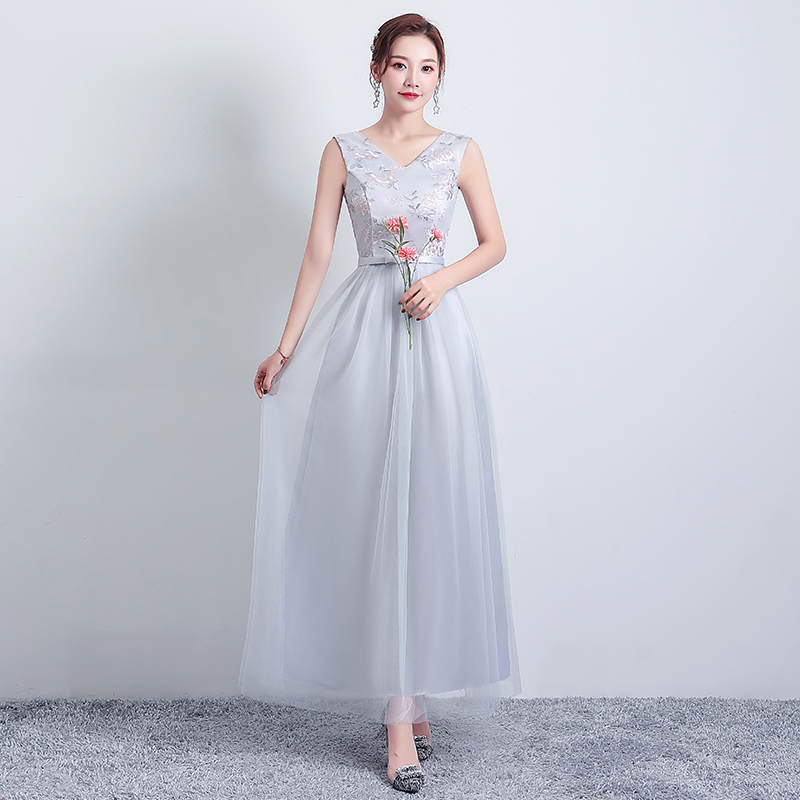 V-neck Gray Bridesmaid Dress Long Sleeveless A-Line Simple Dress For Wedding Party Embroidery Sexy Dress Prom Azul Royal Vestido