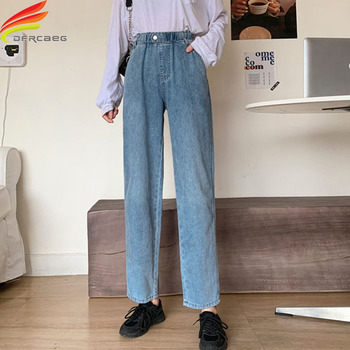 New 2020 Autumn Stretch Waist High Waist Wide Leg Jeans Woman Loose Straight Blue Denim Pants Women Hot Sale 2019 autumn new loose cotton bomb fashion trend wild high waist jeans woman multi pocket zipper hole straight denim pants women