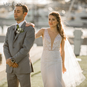 Image 4 - צולל צוואר בת ים חתונת שמלות גב תחתון פרל חרוזים שרוולים Appliqued חרוזים תמונת כלה שמלת Vestido דה Novia