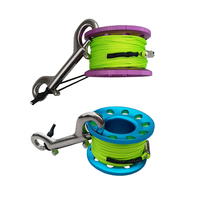 2 Counted 49ft Scuba Diving Spool Multi Purpose Finger Spool Stainless Clip for Water Sports