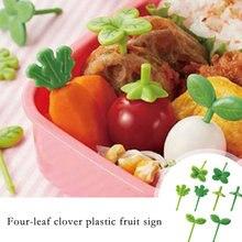 8 pçs frutas forquilha de plástico frutas picareta crianças palito comida prod folhas crianças lanche bolo sobremesa comida garfo caixa de almoço acessórios