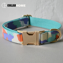 gold buckle nylon bow dog collar pet leash adjustable necklace with tie for medium big dogs labrador camouflage style