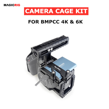 MAGICRIG BMPCC 4K /6K Camera Cage with NATO Handle  + T5 SSD Mount Clamp for Blackmagic Pocket Cinema Camera BMPCC 4K /BMPCC 6K smallrig bmpcc 4k cage dslr camera blackmagic pocket 4k 6k camera for blackmagic pocket cinema camera 4k 6k bmpcc 4k 2203b
