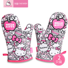 2 pcs Hello Kitty oven mitt,heat resistant gloves,slip-resistant thick camouflage insulation gloves,oven gloves kitchen product pearland oilers personalized oven mitt