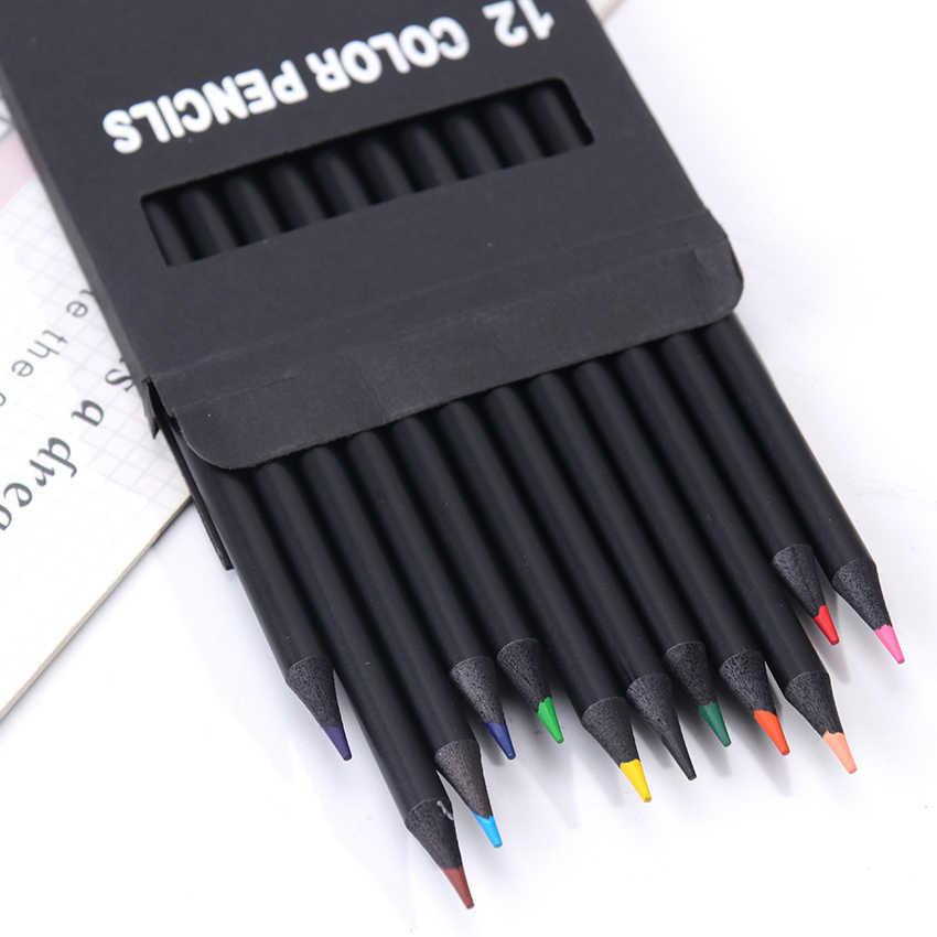 12 יח'\סט צבע עפרונות 12 שונה צבעים שחור עץ עפרונות מקצועי ציור עפרונות בית ספר משרד אמן ציור