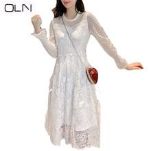 OLN dress 2019 Autumn spring Korean vestidos wholesale Lace female new white wave  slim mesh mosaic for women