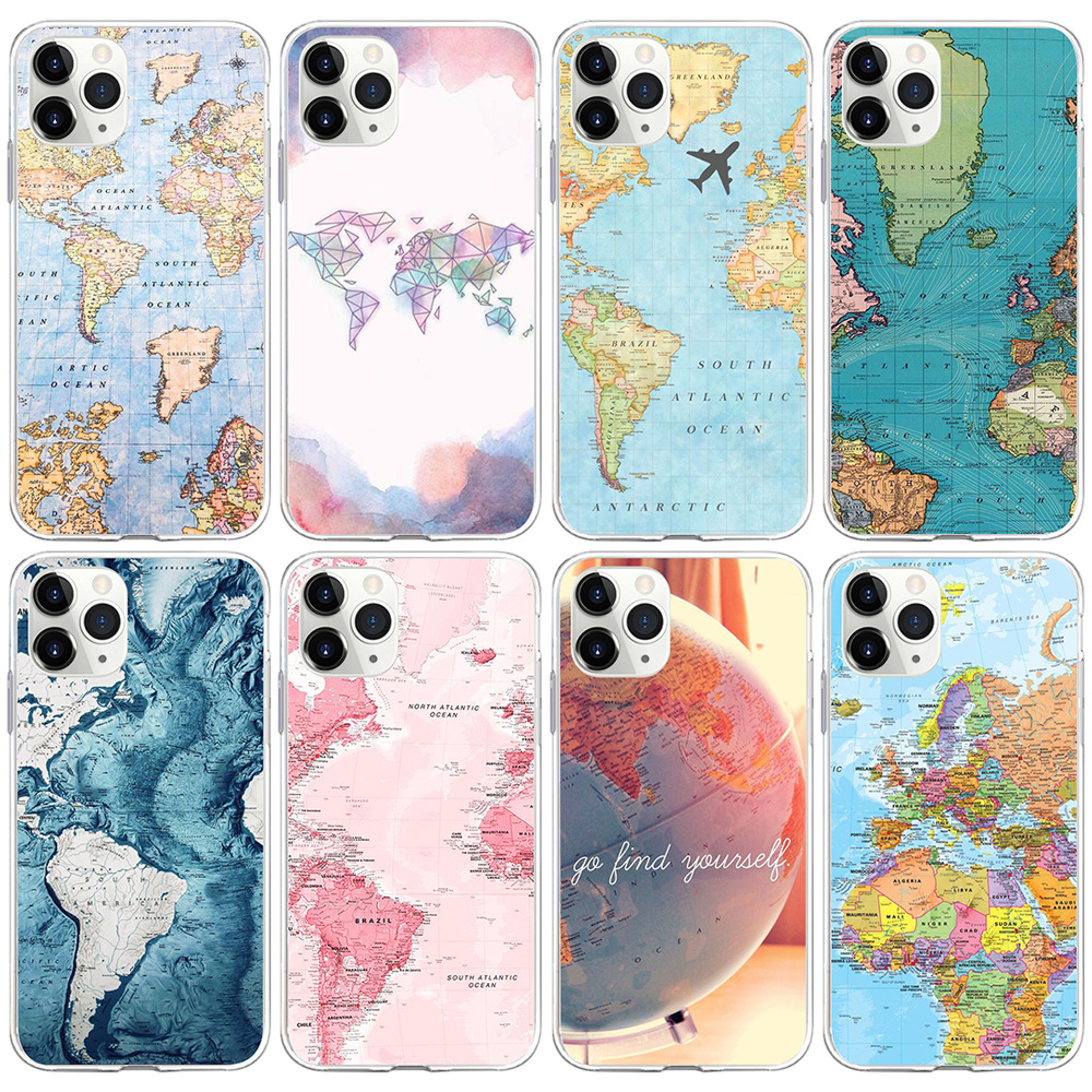 World Map Travel Soft TPU Shell For iP 11 Pro Max Back Cover For iP XR 8 7 6 6S Plus X XS Max 5S SE Phone Cases