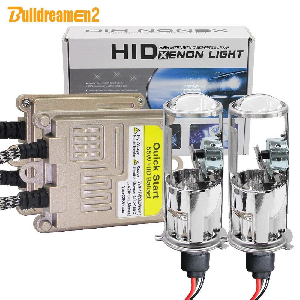 Buildreamen2 H4 voiture phare 55W 8000LM bi-xénon Hi/Lo HID xenon Kit Mini projecteur lentille ampoule AC Ballast 4300K 6000K 8000K 12V