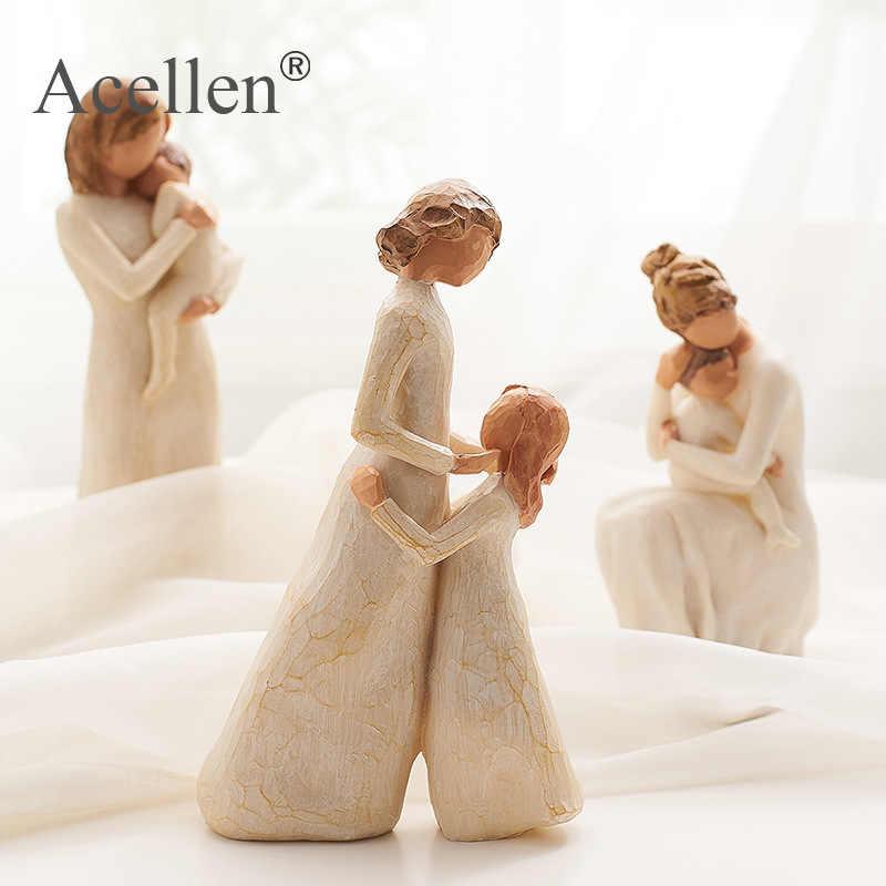 Nordic Stil Liebe Familie Figuren Harz Miniacture Mum Dad und Kinder Hause Dekoration Zubehör Glückliche Zeit Handwerk Ornament