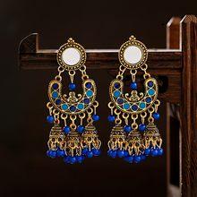 Etniczne klasyczne damskie niebieskie kolczyki z koralikami ręcznie robione damskie kolczyki Gypsy Jhumka Jhumki Bell tybetańskie indie