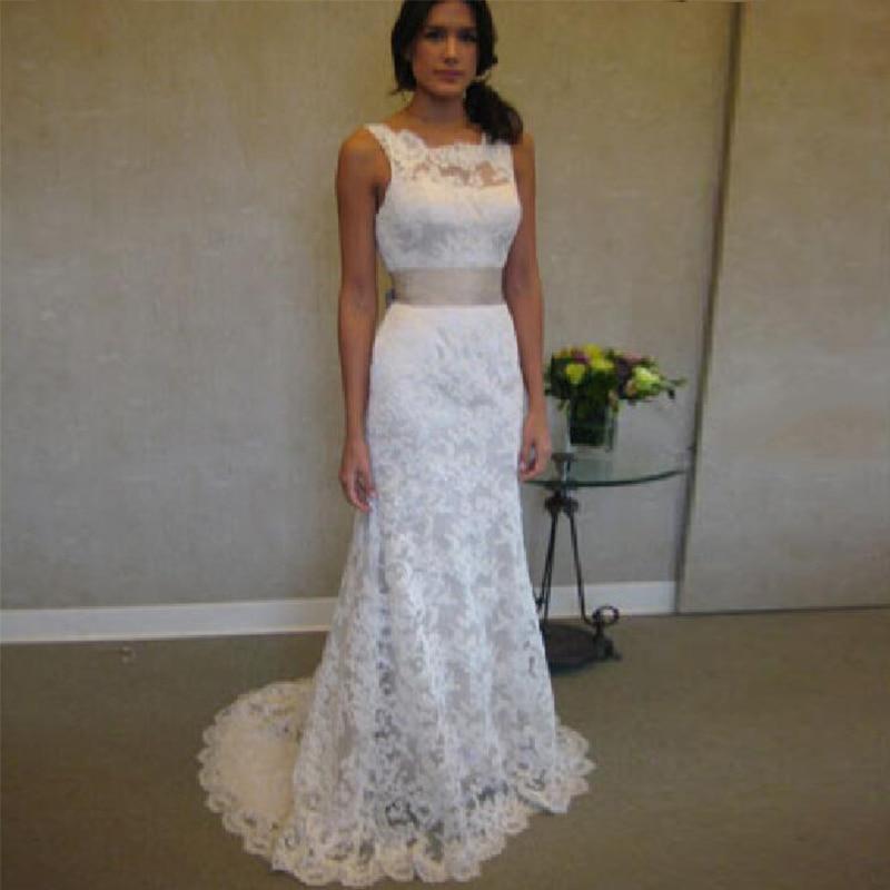 Vestido De Noiva Fashion Halter Custom Size Sweep/brush Open Back Lace White/ivory Bridal Gown Sheath Mother Of The Bride Dress