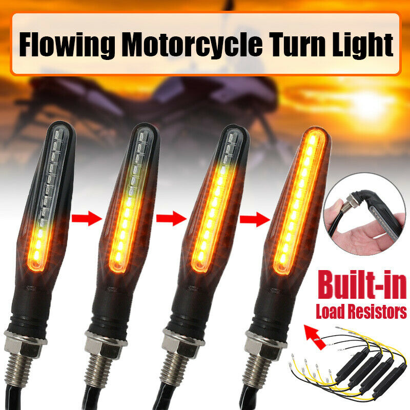 1Pair 12V 2W Motorcycle Modified LED Turn Signal Running Water 12LED Direction Light Mini Motorcycle Motorbike Turn Signal Light