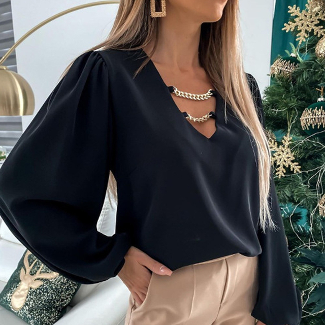Elegant V Neck Metal Chain Lady Tops Fashion Solid Color Long Sleeve Woman Shirts Autumn Loose Casual Office Work Female Blouses 6