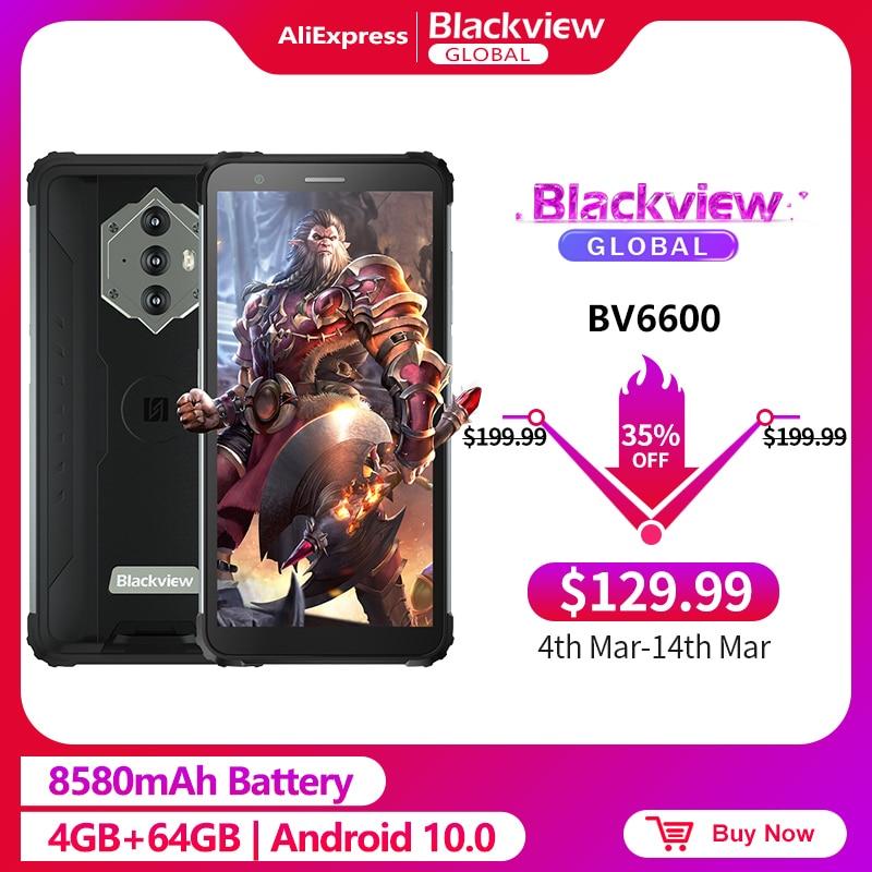 Blackview bv6600 ip68 impermeável 8580mah áspero smartphone 4gb + 64gb 5.7 android android android 10.0 octa núcleo 4g nfc grande bateria celular|Celulares|   -