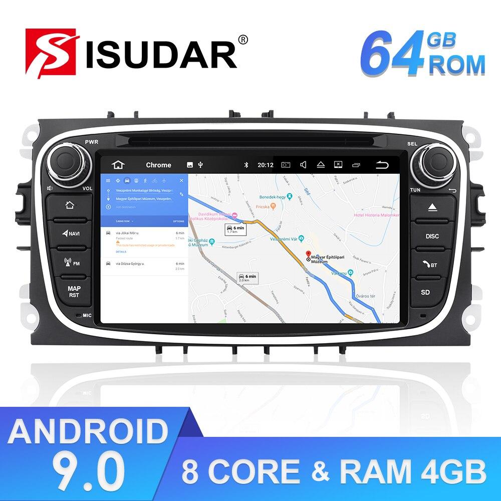 Lecteur multimédia de voiture Isudar Android 9 Autoradio GPS 2 Din pour FORD/Focus/Mondeo/S-MAX/C-MAX/Galaxy RAM 4GB 64GB Radio DSP DVR