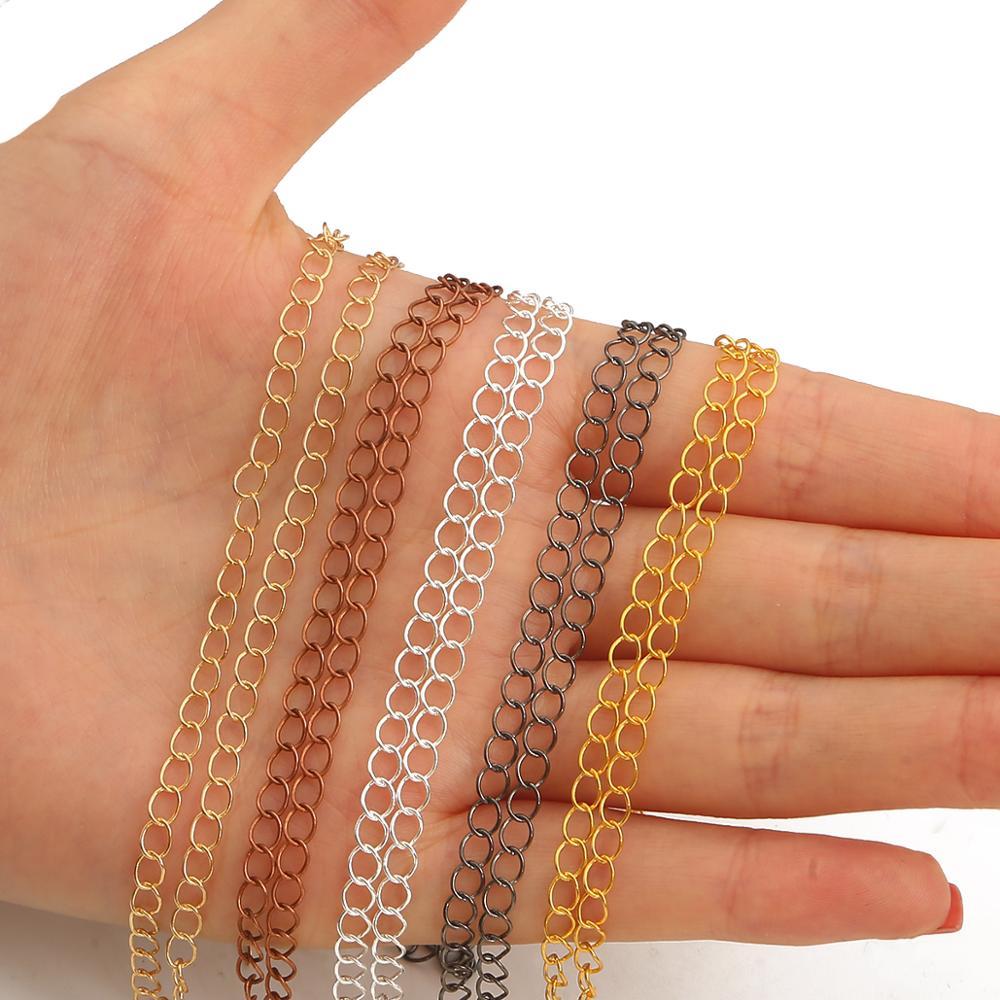 Цепочка-удлинитель с открытыми звеньями для ожерелья, цепочка для бижутерии «сделай сам», 5 м/лот, 2,5, 2,8, 3,6 мм