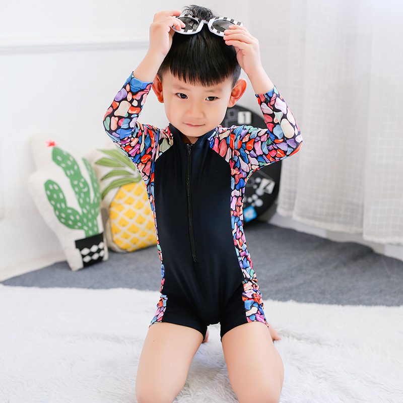 2017 Children One-piece BOY'S Boxer Zipper Bathing Suit BOY'S Children One-piece Blue Fruit Sleeve Surfing Bathing Suit
