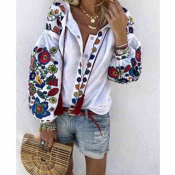 Women Autumn Clothes Long Sleeve Shirt Flower V-Neck Casual Loose Top Ladies Blouse Tee
